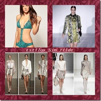 El snake print tendencia de primavera-verano 2013 en trikinis, faldas, chaquetas, pantalones y vestidos.