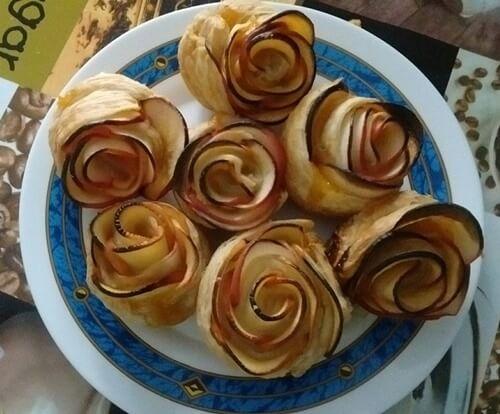 receta de rosas de hojaldre con manzana